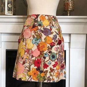 Anthro Elevenses Brushed Corduroy Floral Skirt